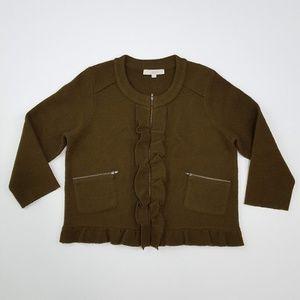 {LOFT} Merino Wool Ruffle Zip Up Sweater Blazer XL